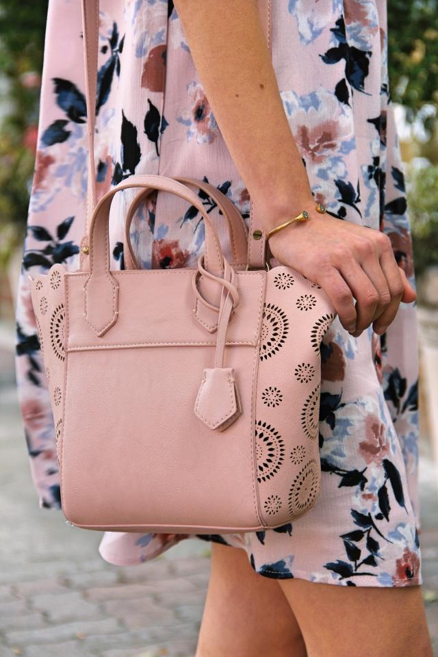 anthropologie pascala vegan leather blush pink eyelet mini crossbody tote bag
