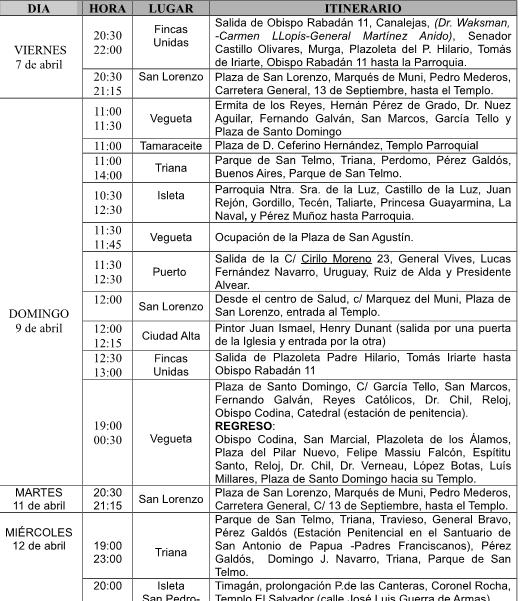 Itinerario procesiones de semana santa en las palmas de for Jardin canario horario