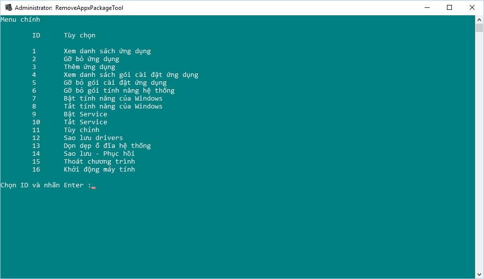 Share toàn bộ mã nguồn sử dụng làm công cụ RemoveAppxPackageTool