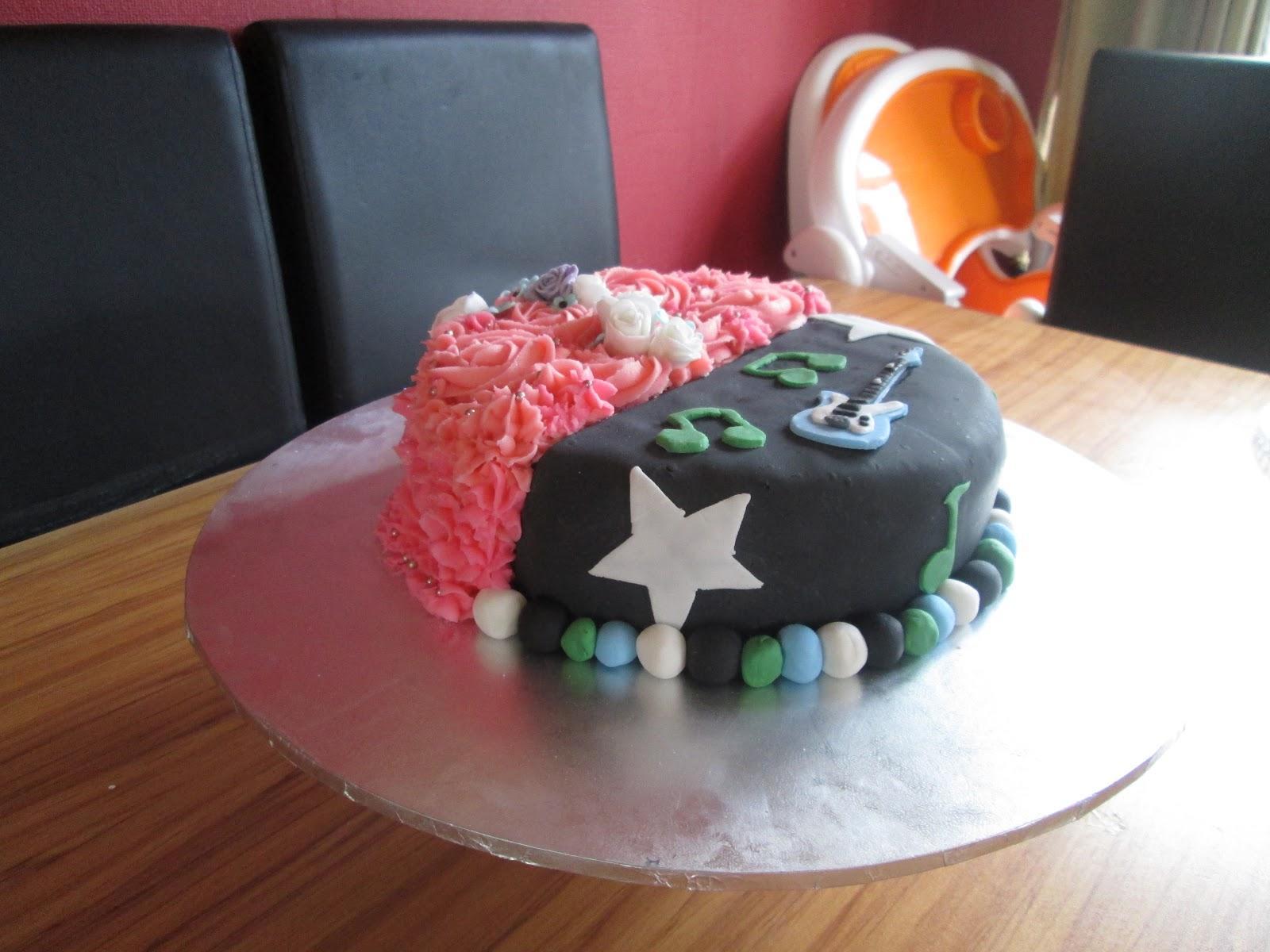 Eva's Cupcakes: Half girl / Half boy cake