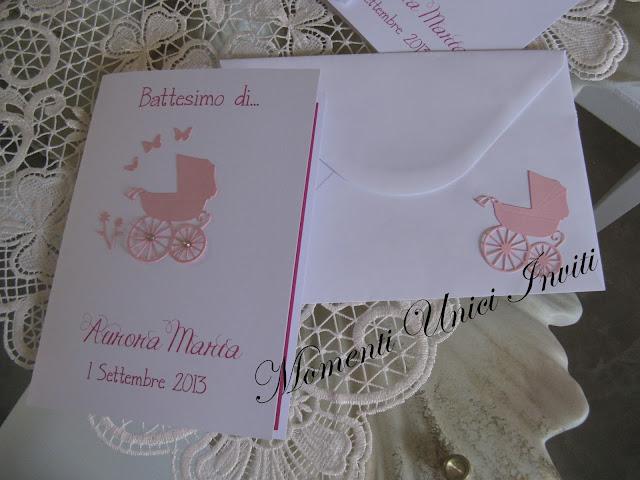 IMG_5769 Card per battesimo bimba: carrozzina e decorazioni intagliate a manoBattesimo Biglietti Nascita