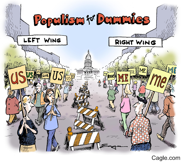 Title:  Populism for Dummies.  Image:  Left-leaning demonstrators carrying signs that say,