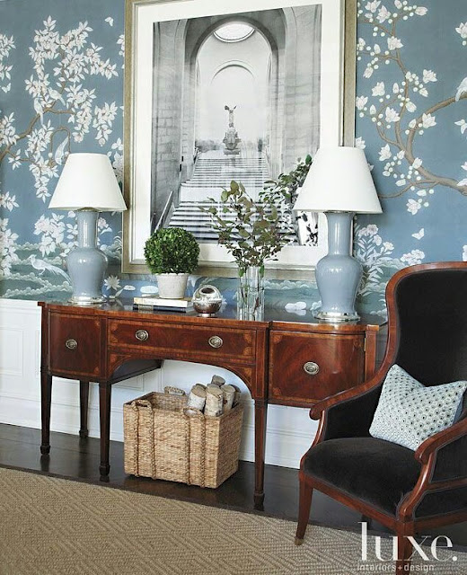 Décor of elegant design: Carolina Blue wallpaper by @ Gracie Studio NYC