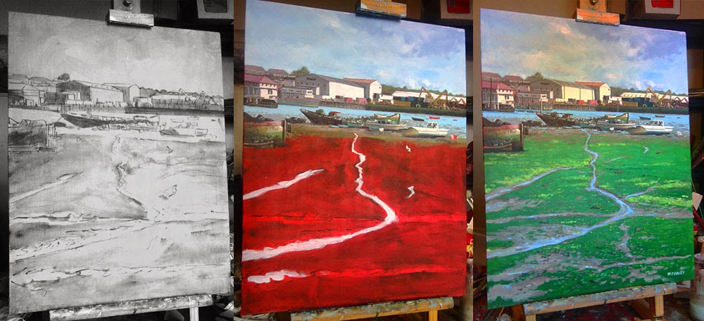 WIP Northam boats yards acrylic painting in stages