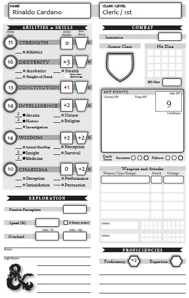Armchair Gamer: D&D 5e: Character Sheet Try-Out