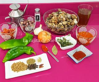 Ingredientes Caracoles al estilo tradicional