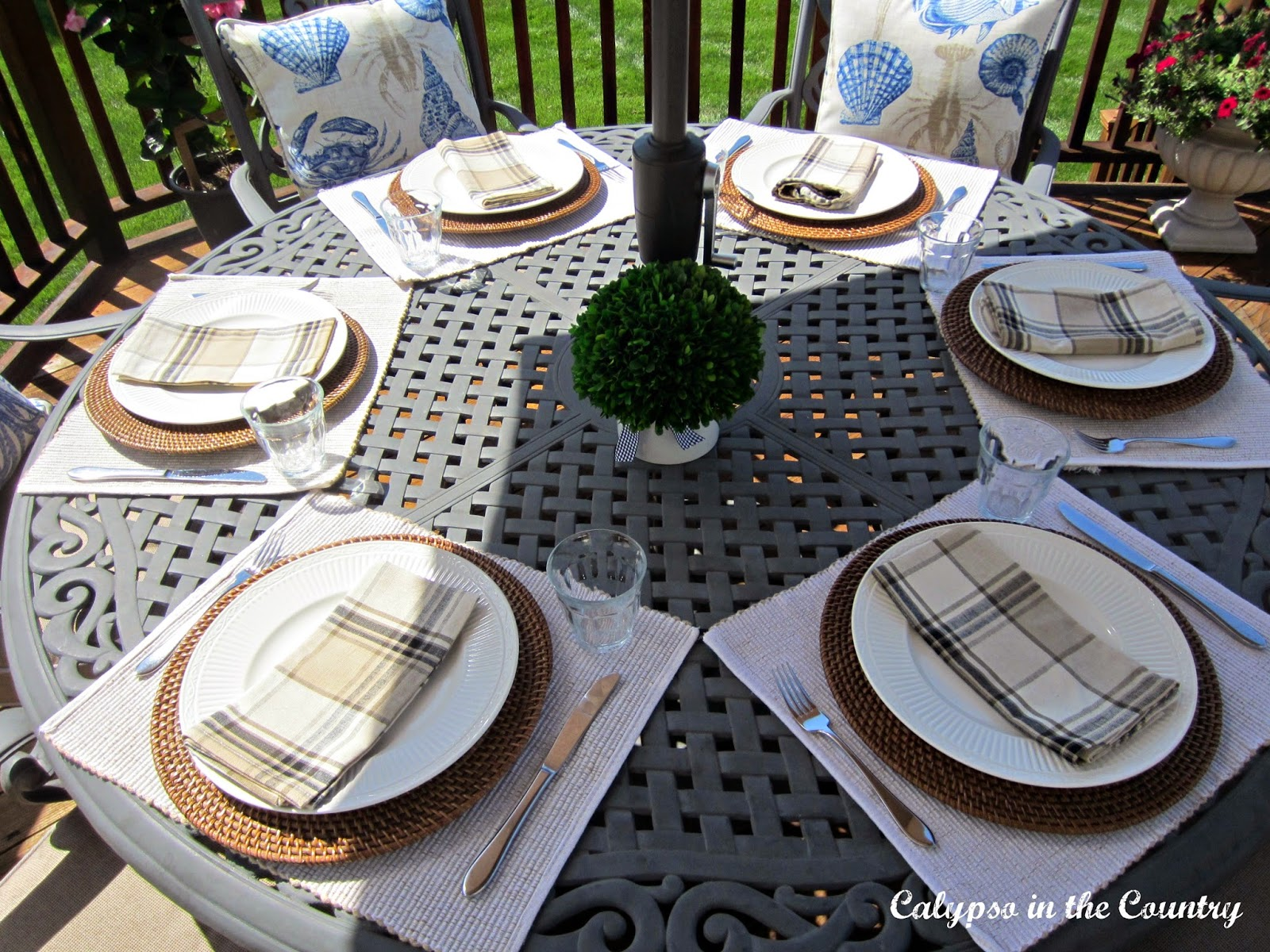 Outdoor Round table Setting on the deck
