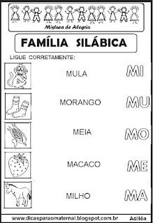 Famílias silábicas alfabetização letra M