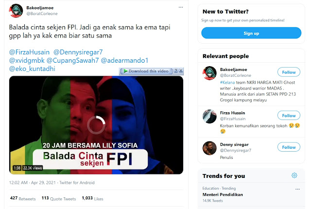 Video Balada Cinta Bersama Lily Sofia Jadi Sorotan Usai Penangkapan Munarman.lelemuku.com.jpg