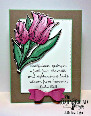 Our Daily Bread Designs Stamp Set:Tulips, Custom Dies: Tulip, Pierced Rectangles, Small Bow