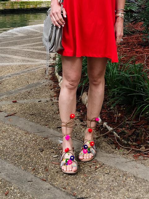 colorful pom pom sandals