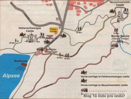 Mapa de Schwangau e os castelos