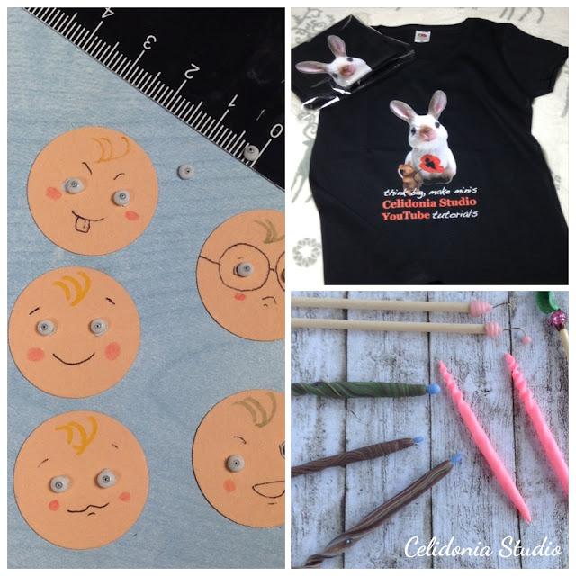 occhi per ooak dolls, maglietta e strumenti per modellare Fatine