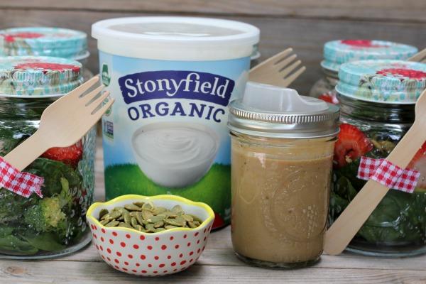Salad in a Jar with Creamy Balsamic Yogurt Dressing