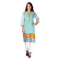 Blue Cotton Kurti In White Checkboard Print With Resham Embroidery