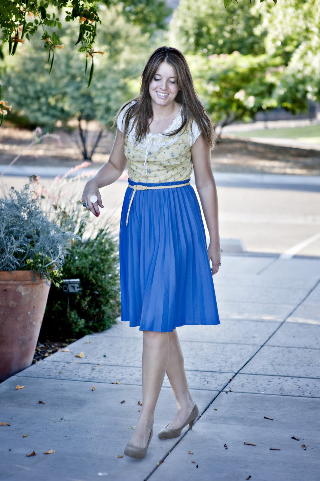Blue Skirt, Brown Heels