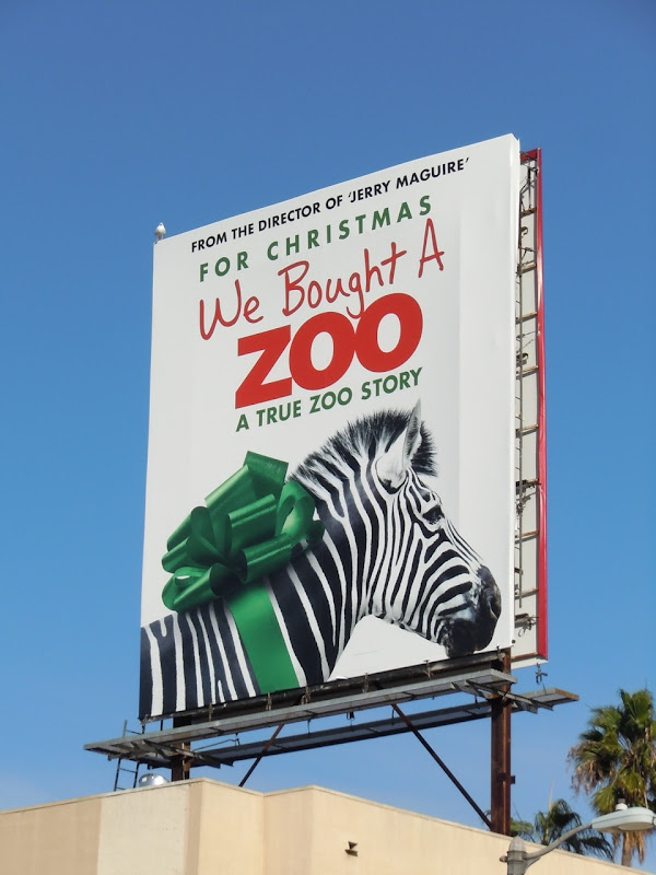 Zebra We Bought a Zoo movie billboard
