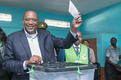 Uhuru Kenyatta cast his vote at Gatundu. PHOTO | FILE