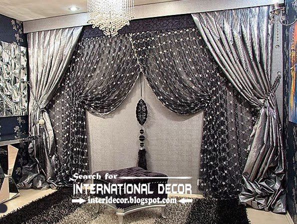 luxury living room curtains design ideas | Luxury black and silver curtain design for living room ...
