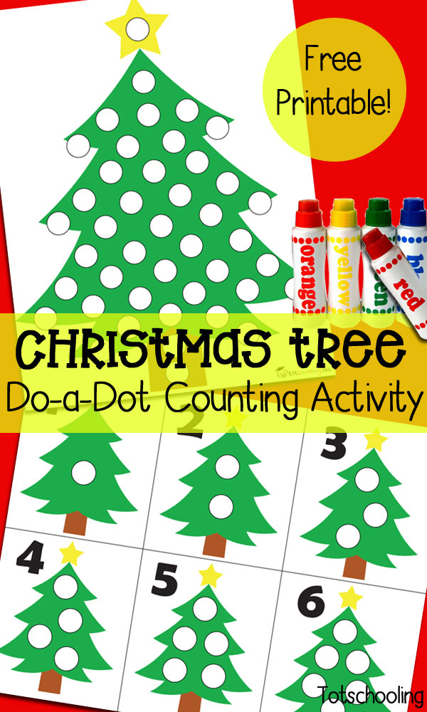 picture about Free Printable Christmas Tree called Xmas Tree Do-a-Dot Counting Recreation Totschooling