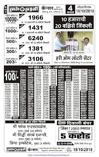 Labh Laxmi Lottery Result Today - 18/10/2018