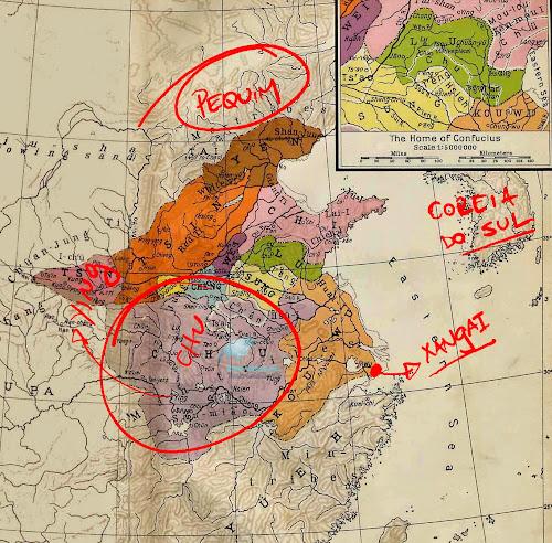 Mapa da China no período das Primaveras e Outonos, no qual teria vivido Sun Tzu, autor d'A Arte da Guerra; destaque para a província de Ch'u.