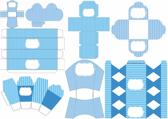 Blue Stripes and Light Blue: Free Printable Boxes.