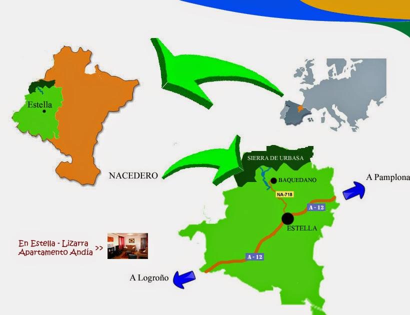 Mapa de carreteras para llegar al Nacedero del Urederra