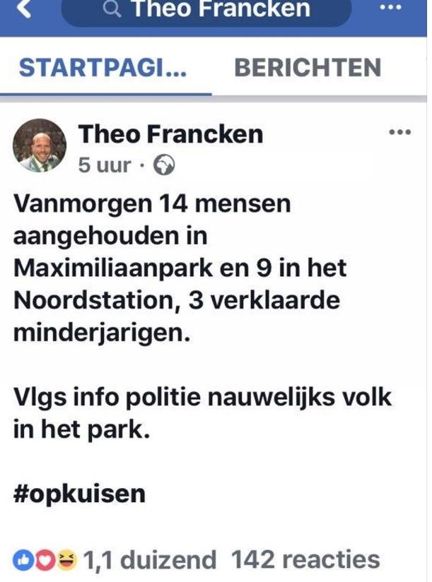 Capture d'écran du compte Facebook de Theo Francken