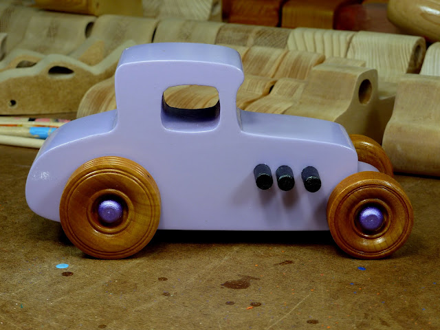 20170522-190206 Wooden Toy Car - Hot Rod Freaky Ford - 27 T Coupe - MDF - Lavender - Amber Shellac - Metallic Purple 04