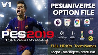 PES 2019 PS4 PESUniverse Option File v1 Season 2018/2019