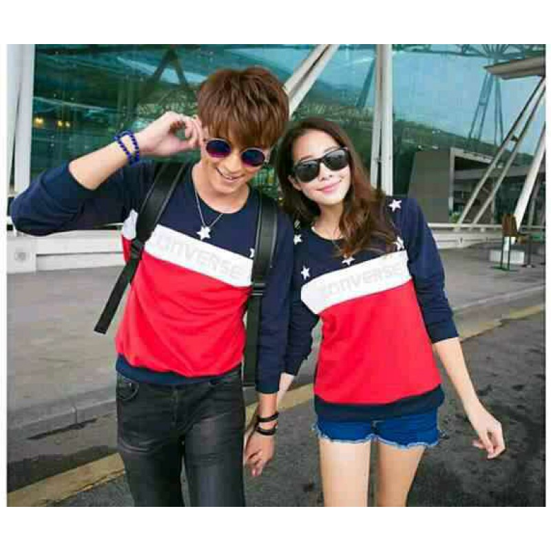 Jual Online Sweater Star Converse Navy Couple Murah Jakarta Bahan Babytery Terbaru
