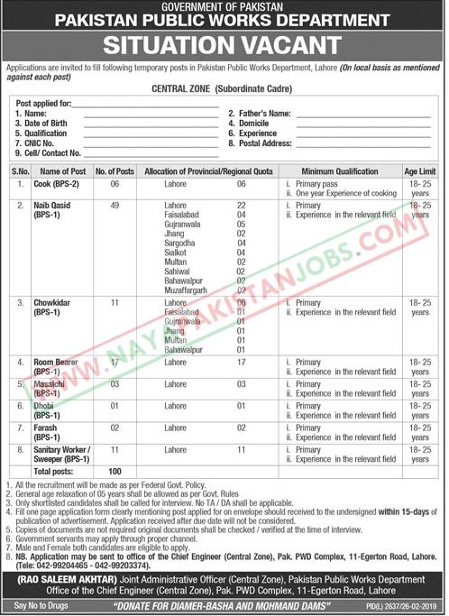 Jobs in Public Works Department, Pakistan Public Works Department Jobs 2019 February
