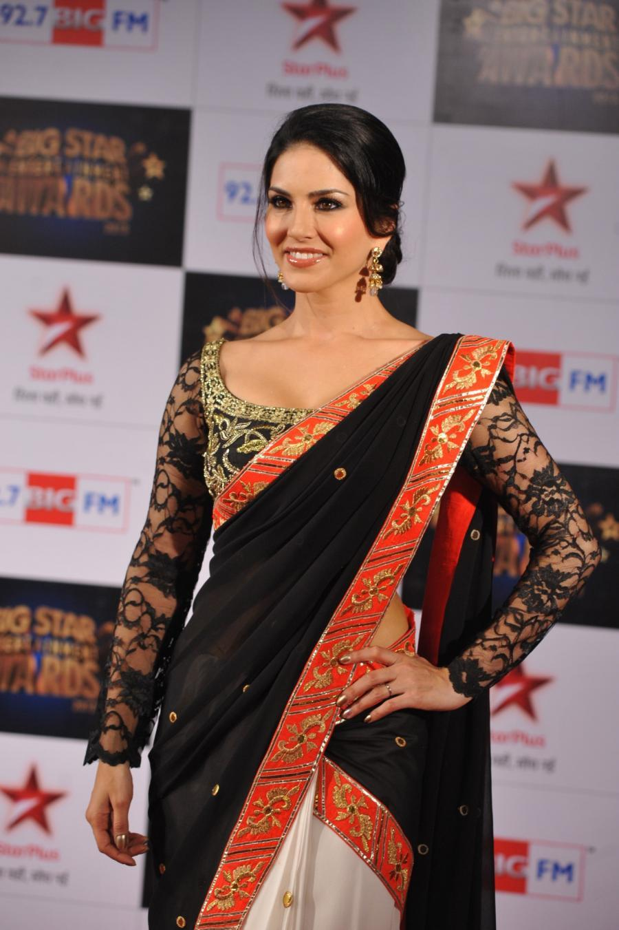 Sunny Leone Photos at Big Star Awards In Black Saree