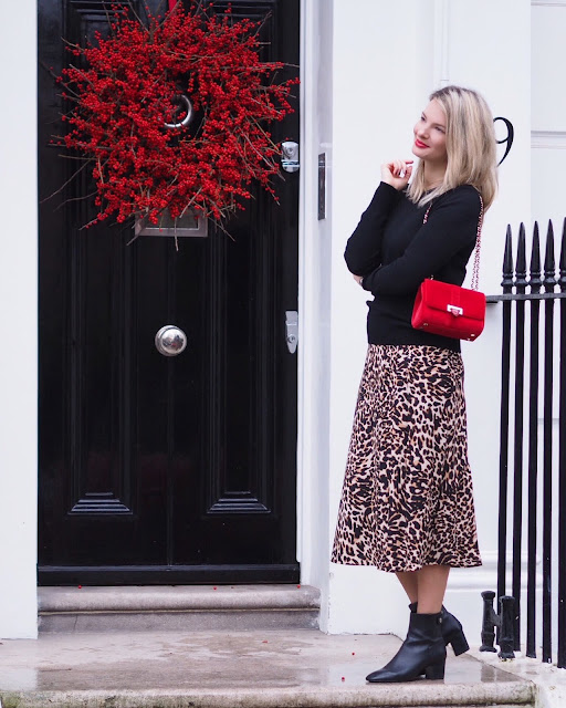 printed maxi skirt, leopard printed skirt, aspinal of London bag, aspinal of London Lottie bag, red velvet bag, London blogger