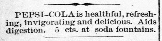 Pepsi-Cola ad 1902