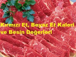 Kırmızı Et, Beyaz Et Kalori ve Besin Değerleri