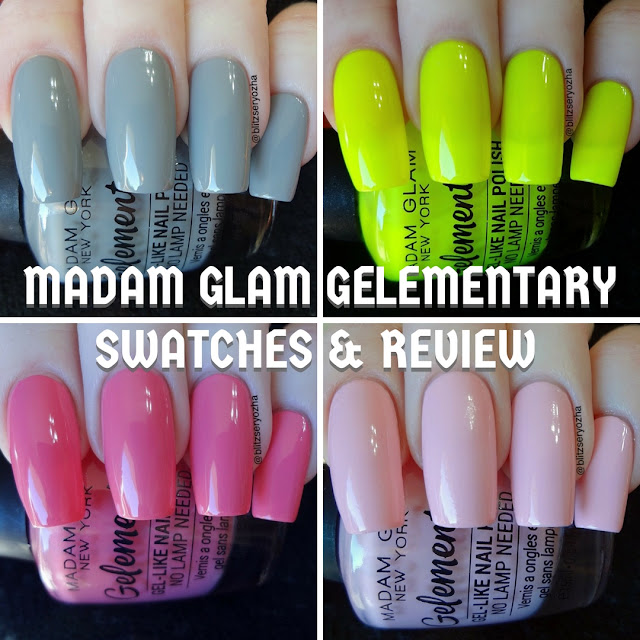 Collage of swatch photos of four Madam Glam Gelementary polishes