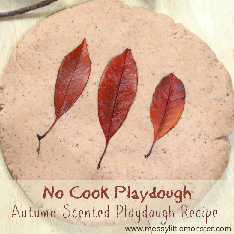 Easy no cook playdough recipe. Looking for autumn activities for preschoolers and toddlers? this autumn scented playdough is perfect!