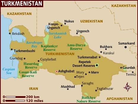 Peta Negara Turkmenistan