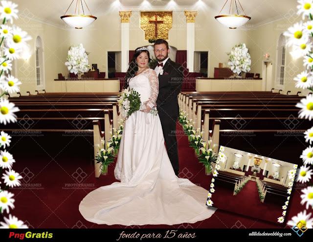 Fondo de capilla de iglesia para fotomontaje de boda y otros eventos