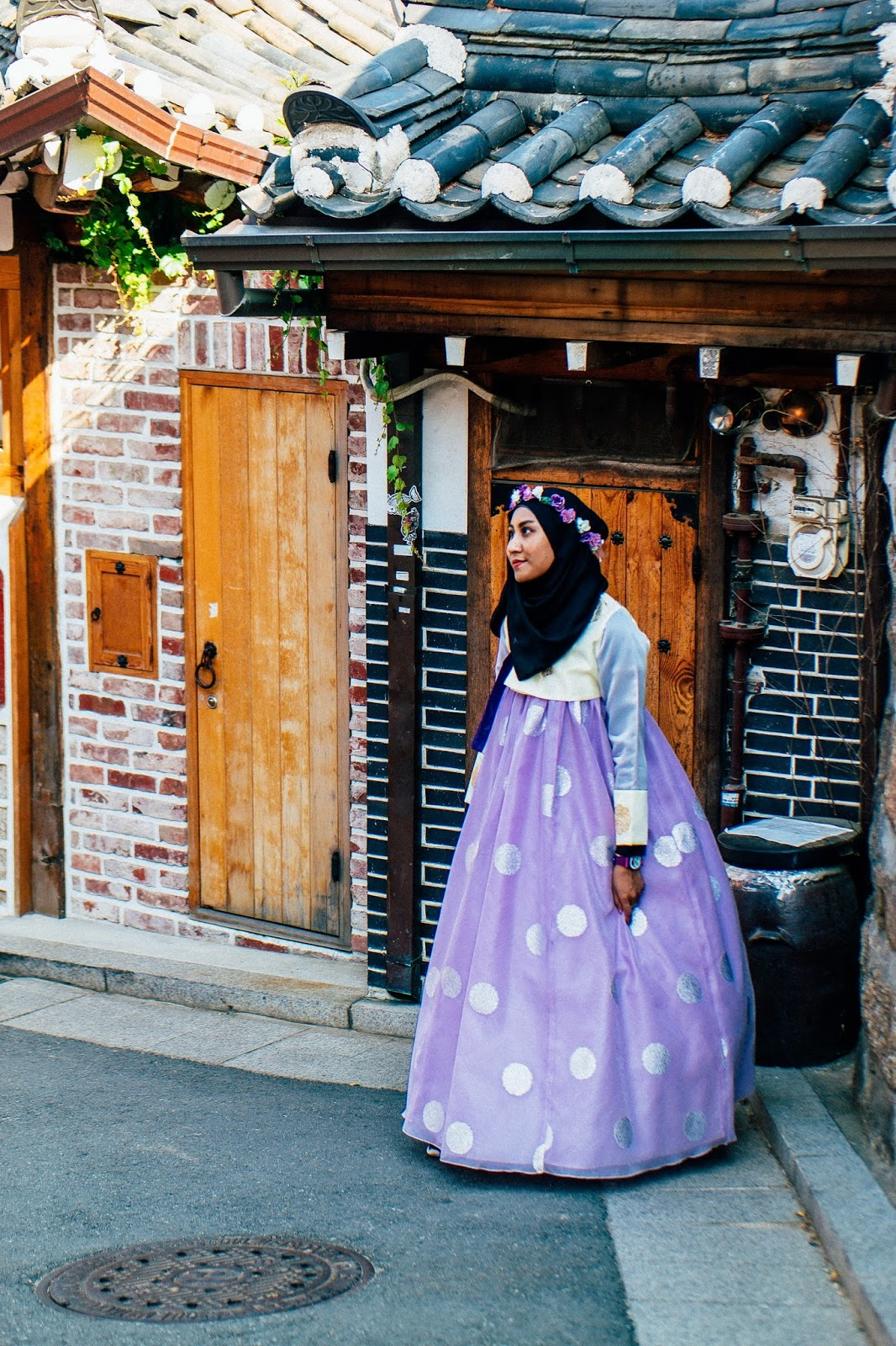wearing traditional korean dress hanbok in seoul