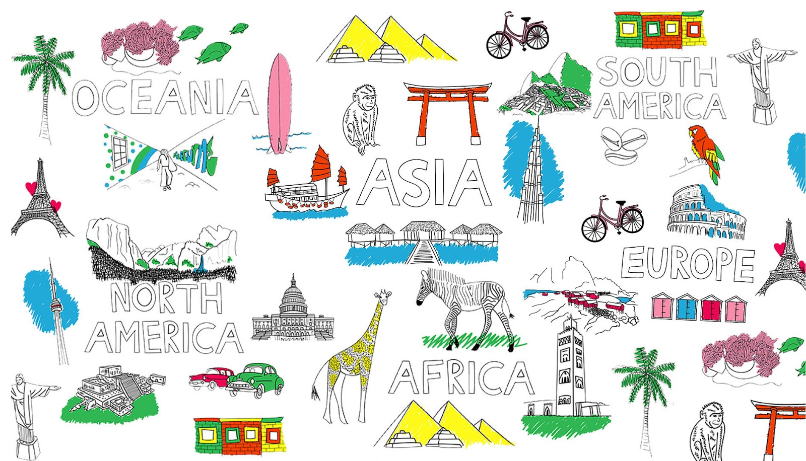 illustrations of tourist attractions from around the world