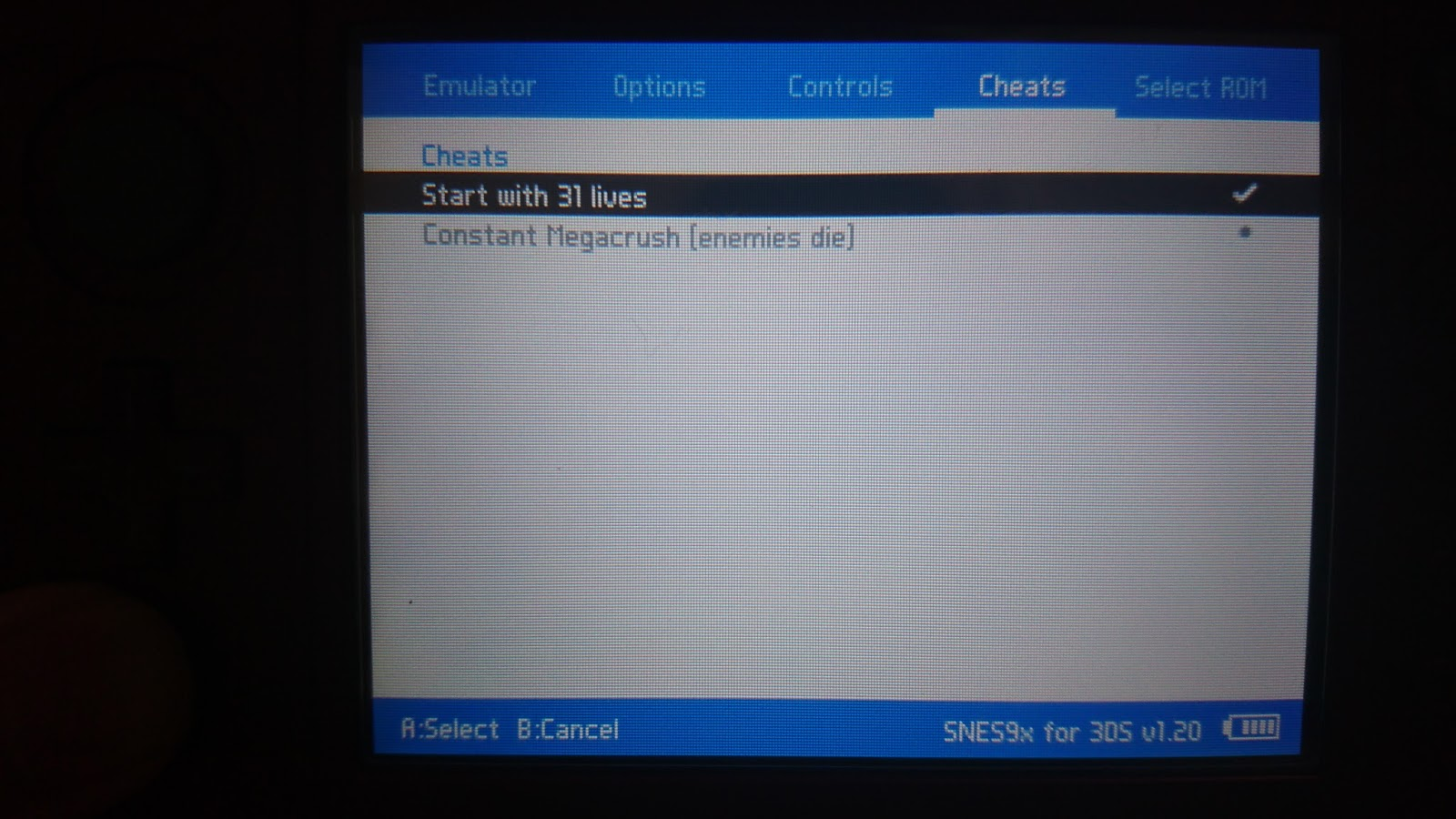 yyoosskのメモ: 3DS用snesエミュレーターであるSnes9x for 3DSでチートを