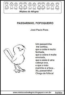 Poema passarinho fofoqueiro atividades