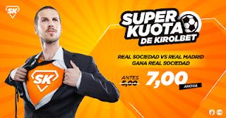 Superkuotas en Kirolbet Real Sociedad vs Real Madrid Liga 17 septiembre