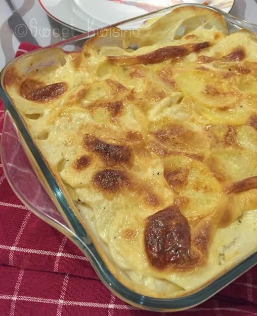 sweet kwisine, gratin, pommes de terre, ail, cuisine française, lait crème, gratin dauphinois, recette traditionnelle, végétarien