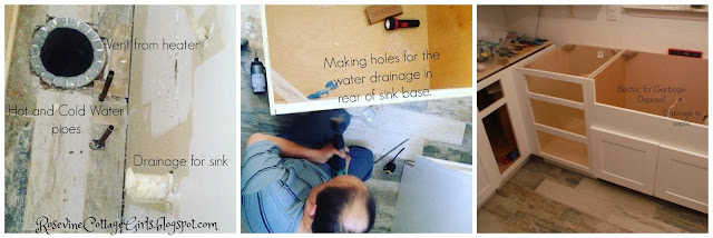 Cutting holes for water in farmhouse sink base