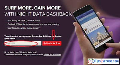 activate airtel night 50 percent data cashback