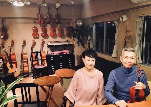 長浜奈津子(朗読・歌・ギター)、喜多直毅(ヴァイオリン) 2017年12月16日@松本弦楽器(代々木)